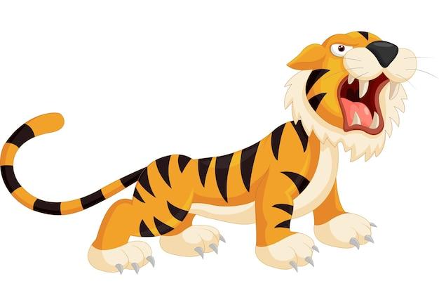 Tigre bonito dos desenhos animados rugindo