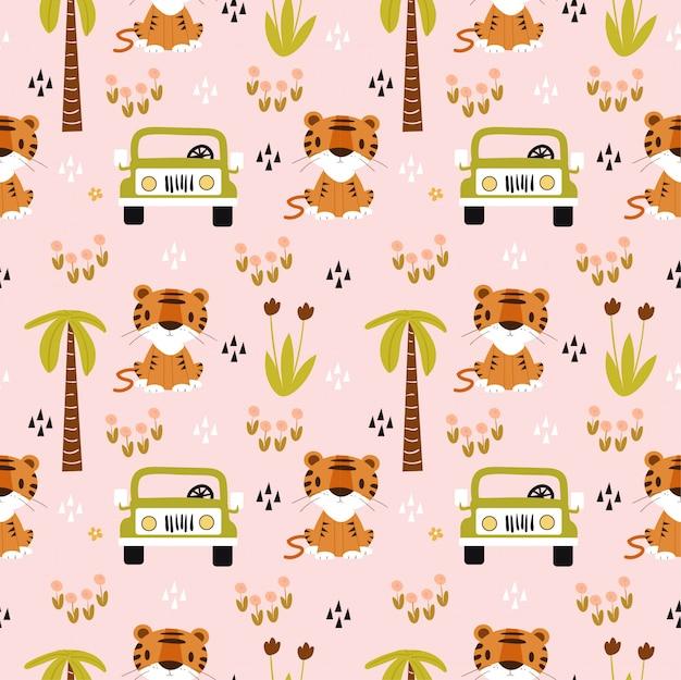 Tigre bonito e carro no padrão sem emenda de safari