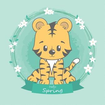 Tigre bonito olá primavera mão de desenhos animados desenhada
