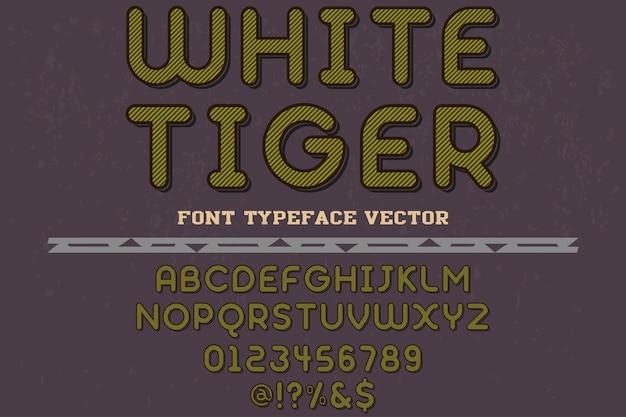 Tigre branco do projeto da fonte da tipografia do vintage