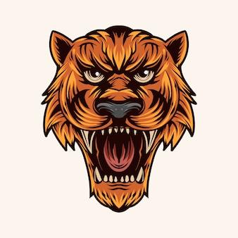 Tigre cabeça vector ilustração cor boca aberta