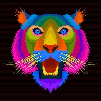 Tigre colorido estilo pop art