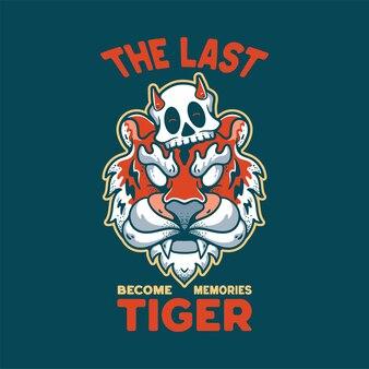 Tigre com caveira ilustração personagem estilo vintage para camisetas