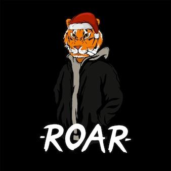 Tigre com chapéu de papai noel para desenho de camiseta
