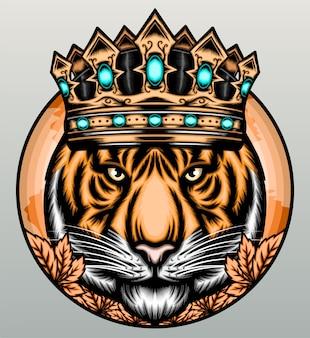 Tigre com coroa de ouro.