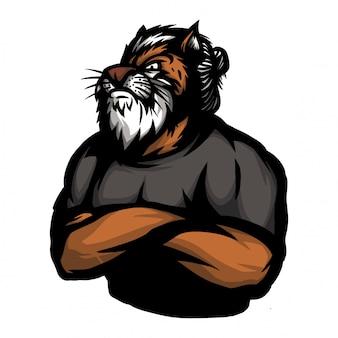 Tigre com corpo humano em pose de mão cruzada