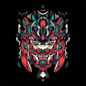 Tigre com ilustração de capacete samurai