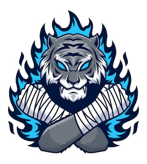Tigre com ilustração de fogo azul
