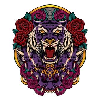 Tigre com máscara japonesa do mal com ilustração de combinação de obras de arte de rosas