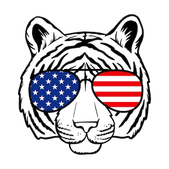 Tigre com óculos de sol e ilustração vetorial de impressão da bandeira dos eua isolado no fundo branco