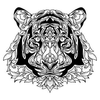 Tigre com ornamento floral