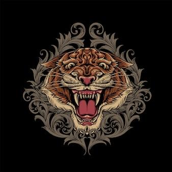 Tigre com ornamento