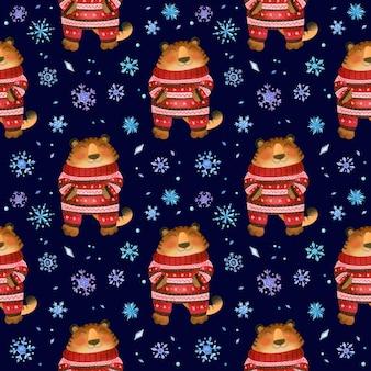 Tigre com pijama de natal quente e inverno sem costura padrão com flocos de neve ano novo 2022