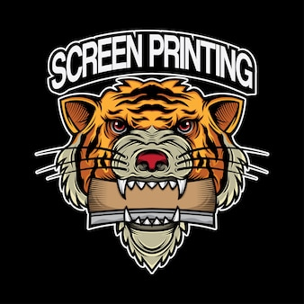 Tigre da cabeça do projeto do logotipo da impressão da tela