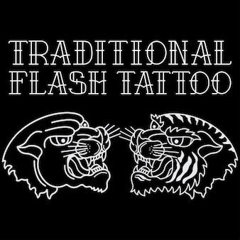 Tigre de cabeça de tatuagem tradicional e pantera negra