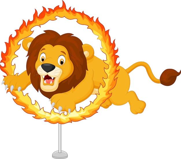 Tigre de desenho animado salta pelo anel de fogo
