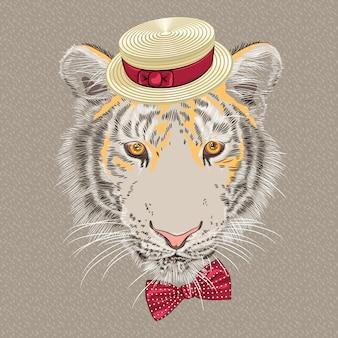 Tigre de hipster engraçado dos desenhos animados