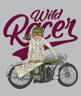 Tigre de mão desenhada com ilustração de motocicleta