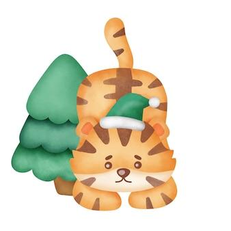 Tigre de natal com elementos de natal em estilo aquarela.