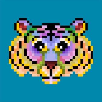 Tigre de pixel colorido fofo