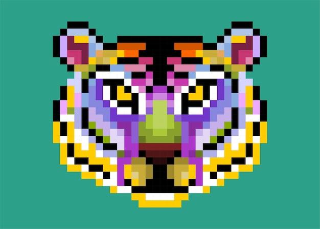 Tigre de pixel fofo colorido isolado.