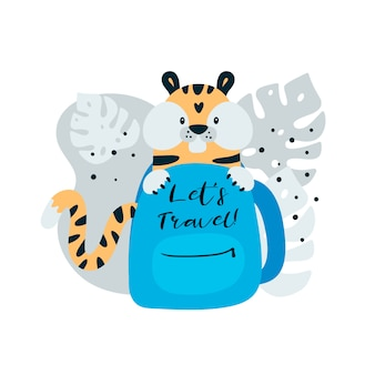Tigre de viagem bonito na mochila
