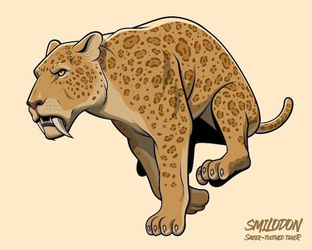 Tigre dente-de-sabre correndo