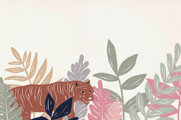 Tigre desenhado à mão na selva