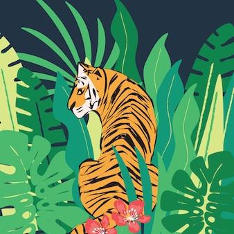 Tigre desenhado de mão com folhas tropicais exóticas
