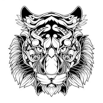 Tigre doodle ornamento ilustração, tatuagem e tshirt design