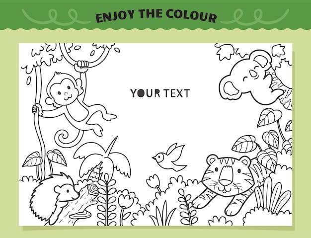 Tigre e amigos na selva para colorir para crianças