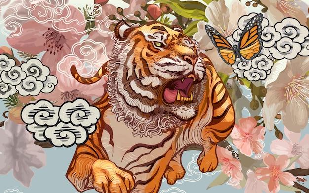 Tigre e borboleta em meio a ilustração de flor de cerejeira