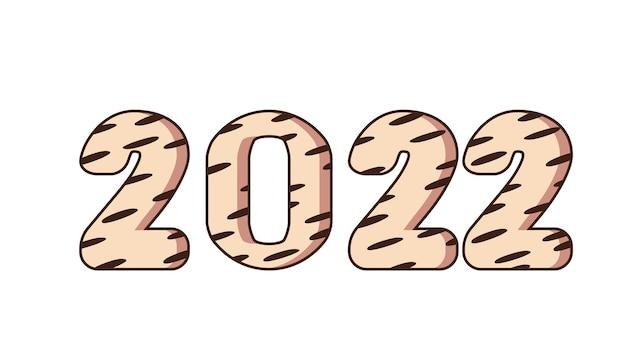 Tigre é o símbolo chinês do ano novo de 2022. feliz ano novo. 2022. design de cartão, convite cartão com textura de cabelo de tigre. banner de ano novo para parabéns. ilustração vetorial.