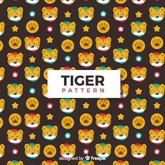 Tigre e padrão de estrelas