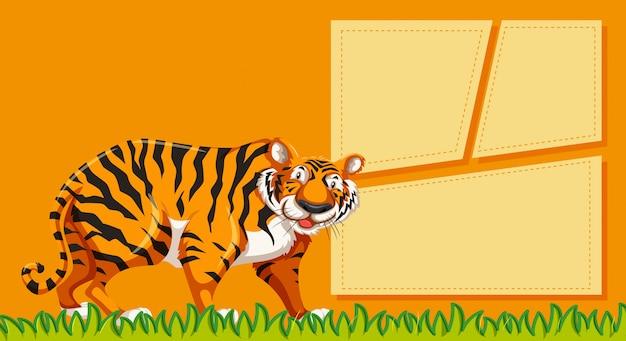 Tigre em notas em branco com copyspace