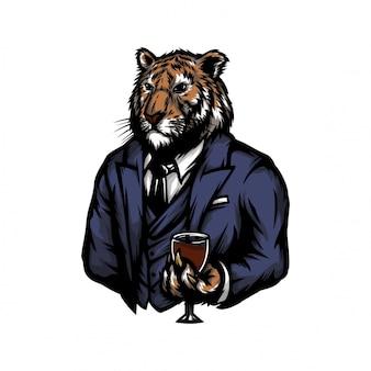 Tigre em roupa de homem