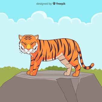 Tigre em um fundo de pedra