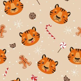 Tigre engraçado. fundo de natal. padrão uniforme