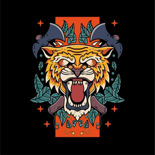 Tigre fantasma com ilustração de crânio e machado