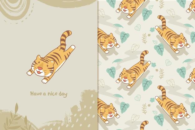 Tigre feliz em padrão de selva
