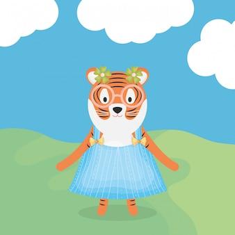 Tigre fêmea bonito com caráter de roupas