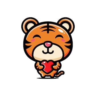 Tigre fofo abraçando um coração de amor