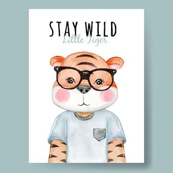Tigre fofo com berçário de ilustração em aquarela de óculos