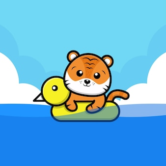 Tigre fofo com ilustração dos desenhos animados do anel de natação