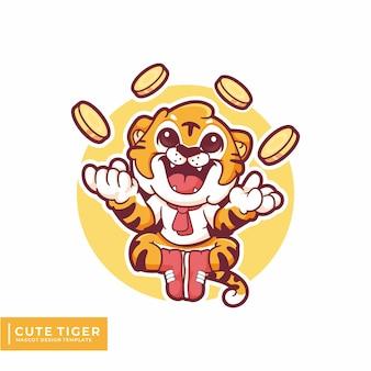 Tigre fofo com logotipo do mascote de moedas