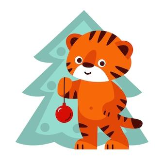 Tigre fofo com uma árvore de natal. ilustração vetorial no estilo cartoon