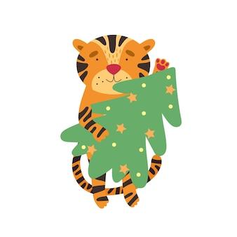 Tigre fofo com uma árvore de natal