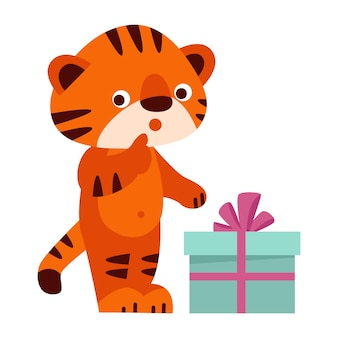 Tigre fofo com uma caixa de presente. ilustração vetorial no estilo cartoon. isolado em um fundo branco.