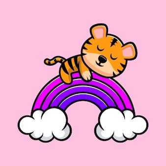 Tigre fofo dormindo no mascote do arco-íris