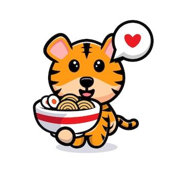 Tigre fofo e mascote dos desenhos animados de macarrão ramen